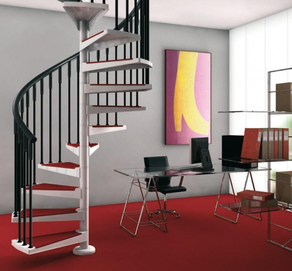 Staircase Ideas For Small Spaces: Graceful Red White Spiral Staircase Design Idea For Small