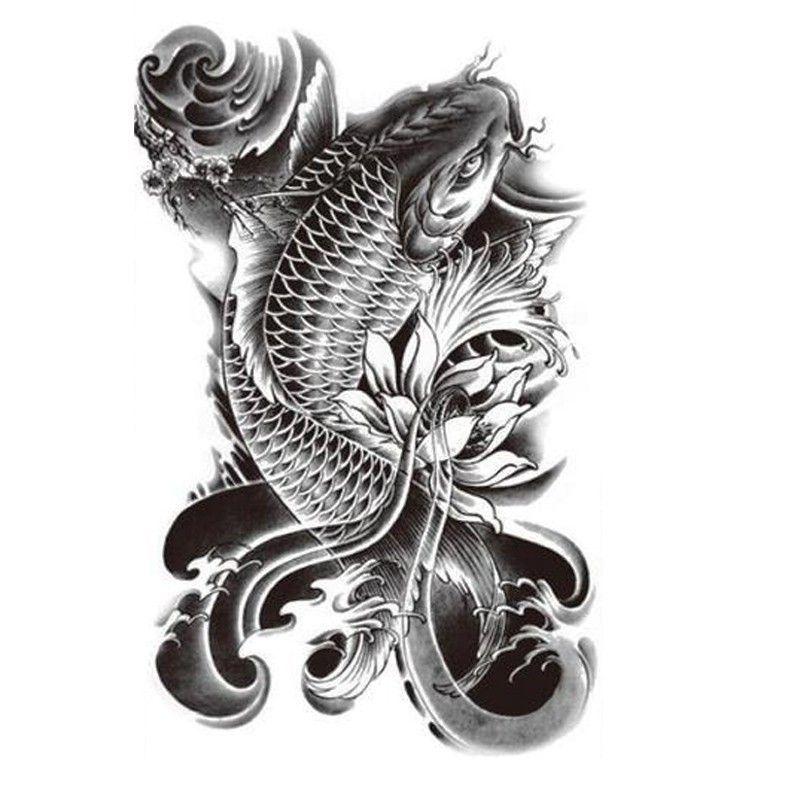 Stickers Suzuki Picture More Detailed Picture About Hot Black Fish Temporary Tattoo Stickers Water Koi Fish Tattoo Koi Tattoo Design Japanese Koi Fish Tattoo