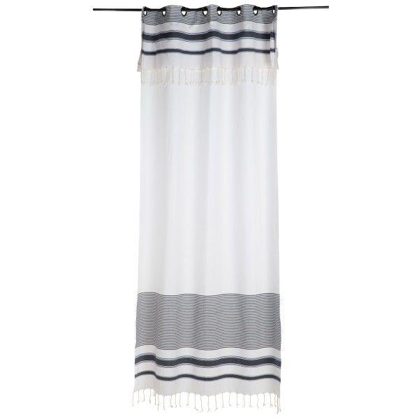 Rideau salon illets fond blanc avec des rayures au style fouta bleu roi hauteur ajus - Ou trouver des oeillets pour rideaux ...