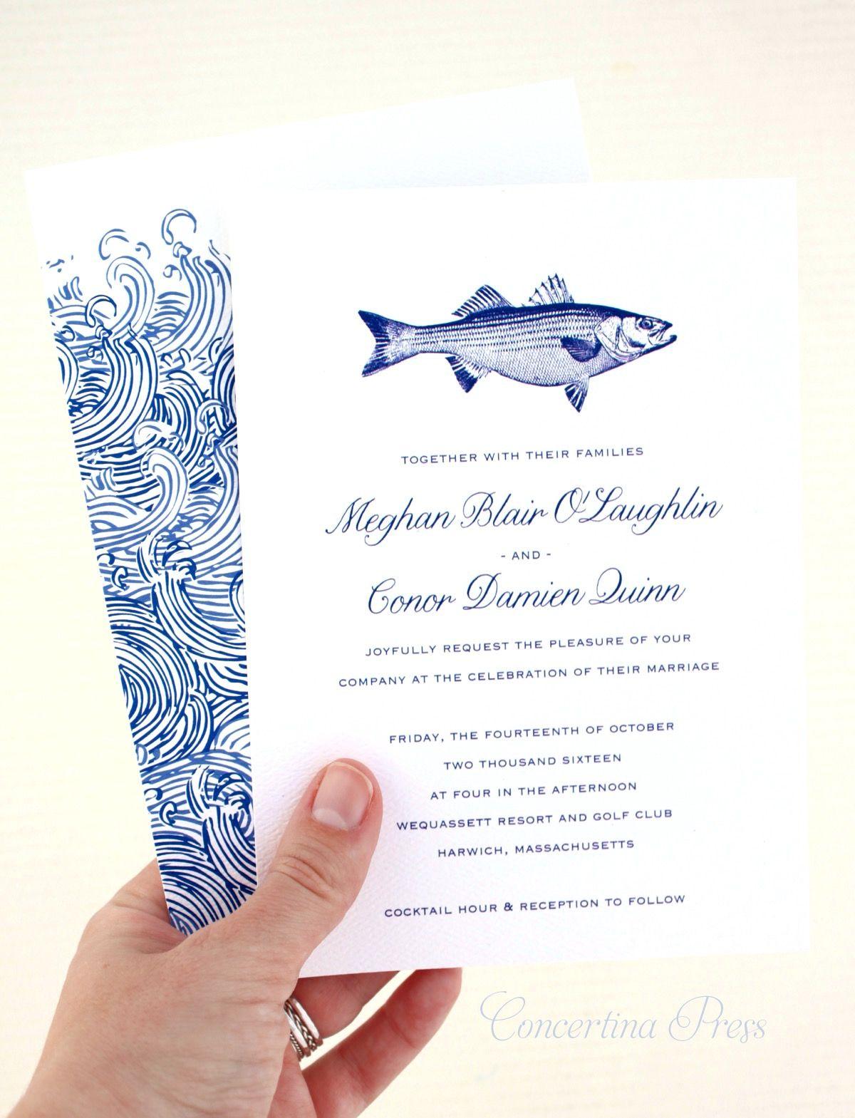 Striped Bass Wedding Invitations Nautical Wedding Vintage