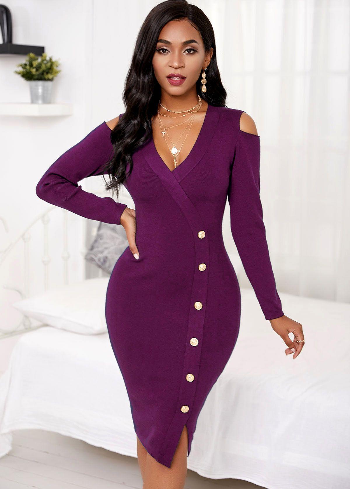 Cold Shoulder Long Sleeve Button Sweater Dress Rosewe Com Usd 20 99 In 2021 Cold Shoulder Sweater Dress Lace Blue Dress Womens Dresses [ 1674 x 1200 Pixel ]