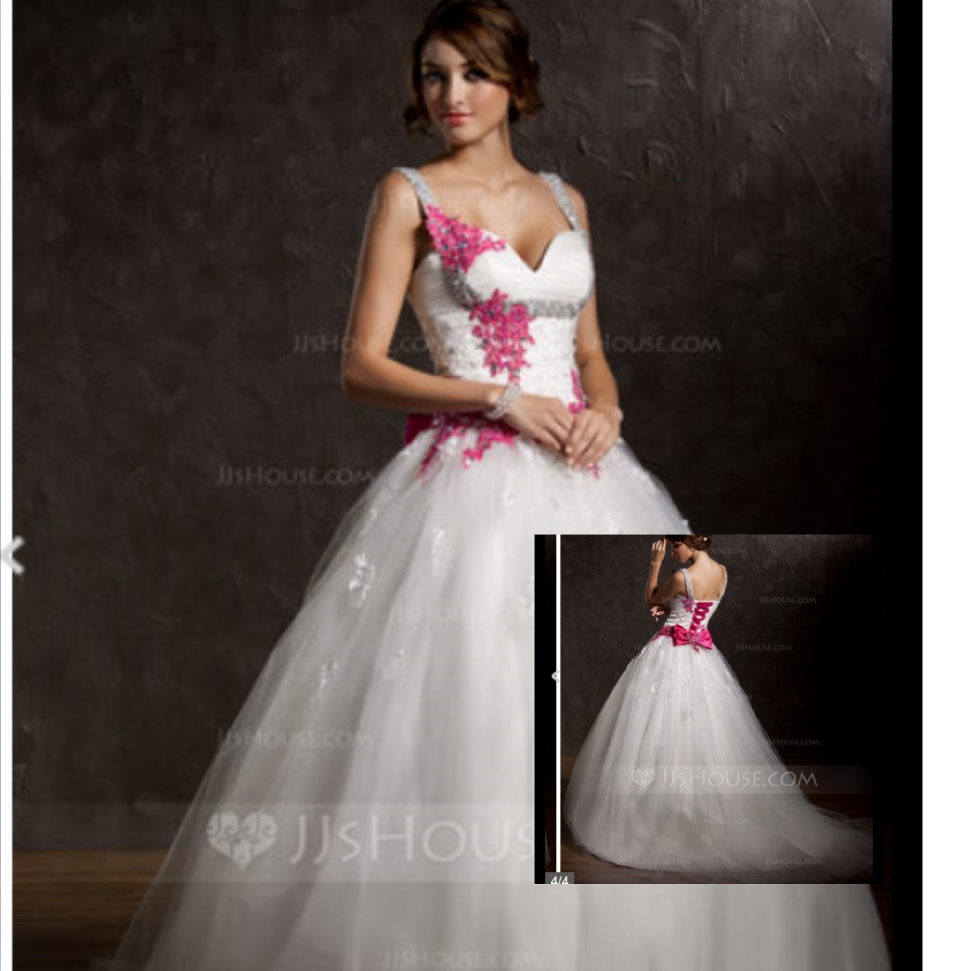 This is a ball-gown sweetheart chapel train tulle wedding dress w/ ruffle appliques lace bow(s) for $189.99 and it's 60% off. Found on jj's house. Hope you like.