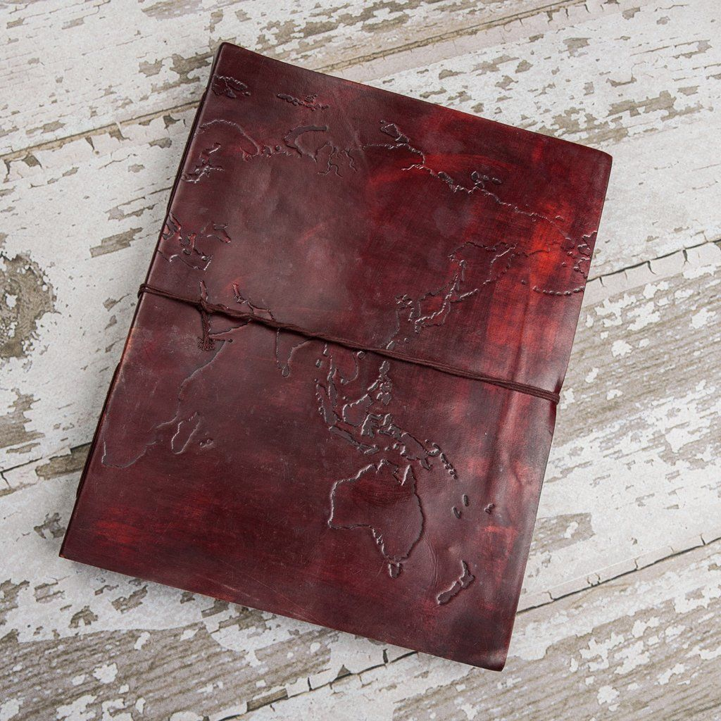 World map oversized large handmade leather journal journal and this is a large handmade genuine leather journal embossed with the world mapere is gumiabroncs Choice Image