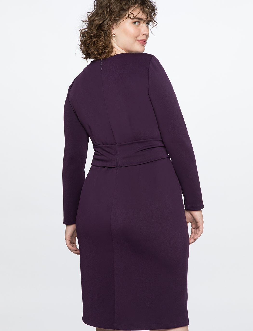 27784a23dfc Long Sleeve Scuba Dress with Tie Imperial Purple
