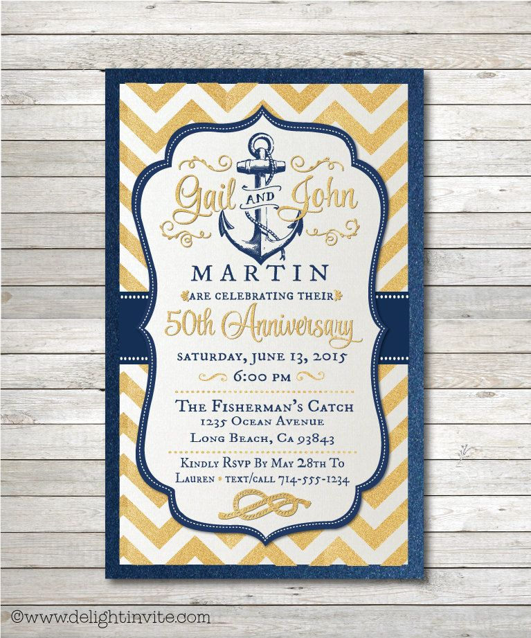 50th Gold Nautical Wedding Anniversary Party Invitations and ...