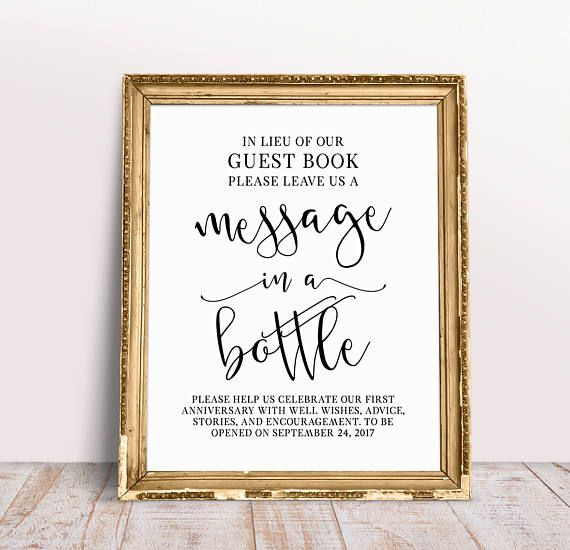 Wedding Photo Book Quotes: Message In A Bottle, Custom Wedding Signs, In Lieu Of