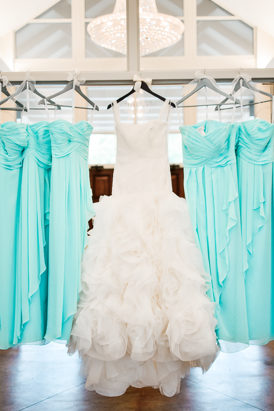 White By Vera Wedding Gown And Tiffany Blue Bridesmaid Dresses
