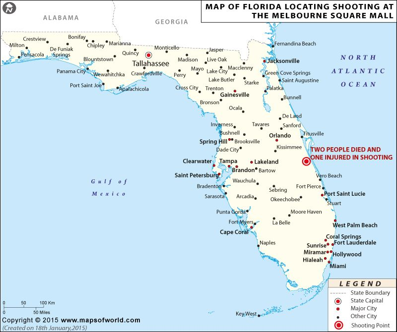 Current Map Of Florida.In The News Map Of Florida Locating Shooting At The Melbourne