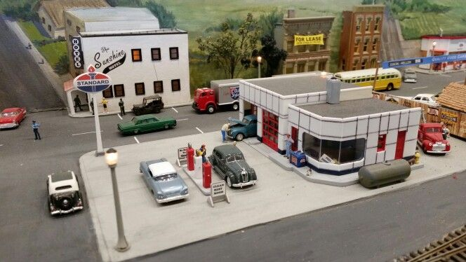 O Scale Mini Gas Station Diecast Model Cars Diecast