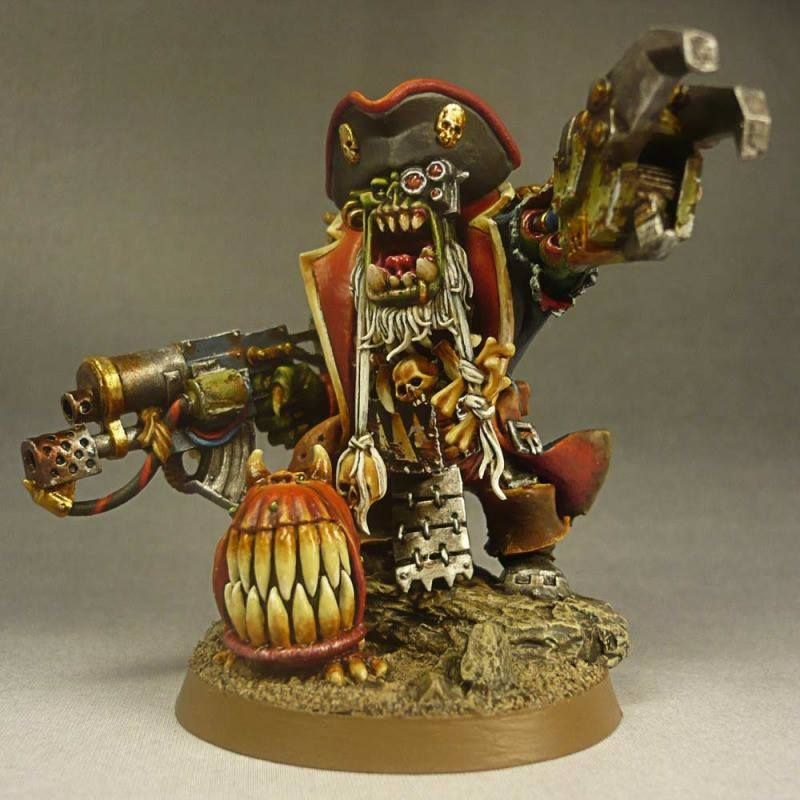 Ork Warboss Pirate with attack squig, powerclaw, combi/skorcha, conversion, Warhammer 40k.