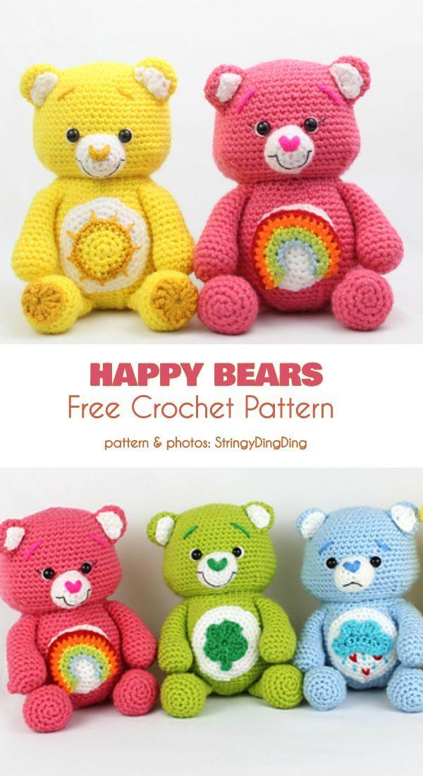 Happy Bears Free Crochet Pattern #amigurumifreepattern