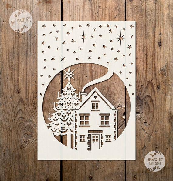 SVG / PDF Night Christmas Scene Design - Papercutting / Vinyl ...