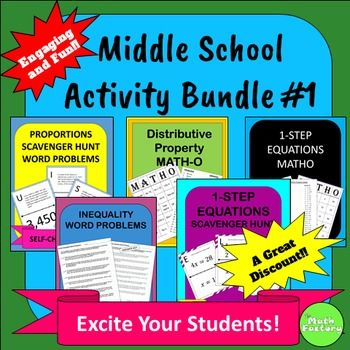 Middle School Math Activity Bundle #1 | Math classroom, Middle ...