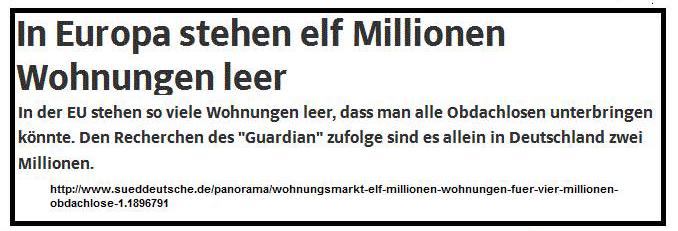 In Europa stehen 11 Mio Wohnungen leer - allein in Deutschland 2 Mio