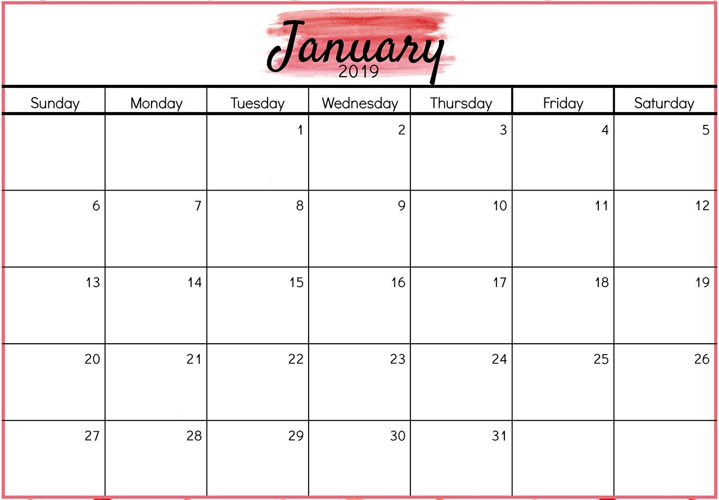 Academic Calendar 2019 January For Landscape And Vertical