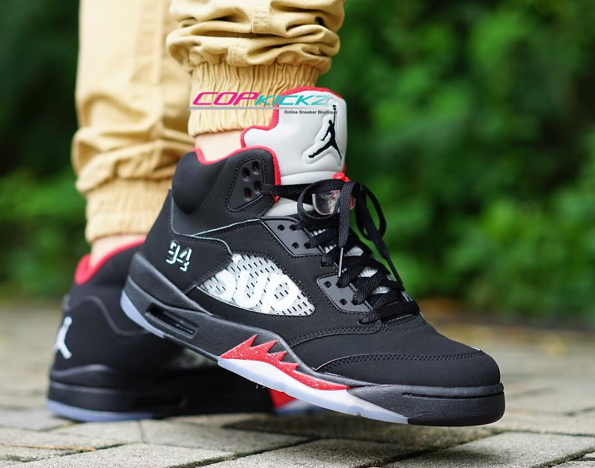 "pretty nice 78b87 00f93 On-Feet Photos of the Supreme x Air Jordan 5 ""Black"" 1"