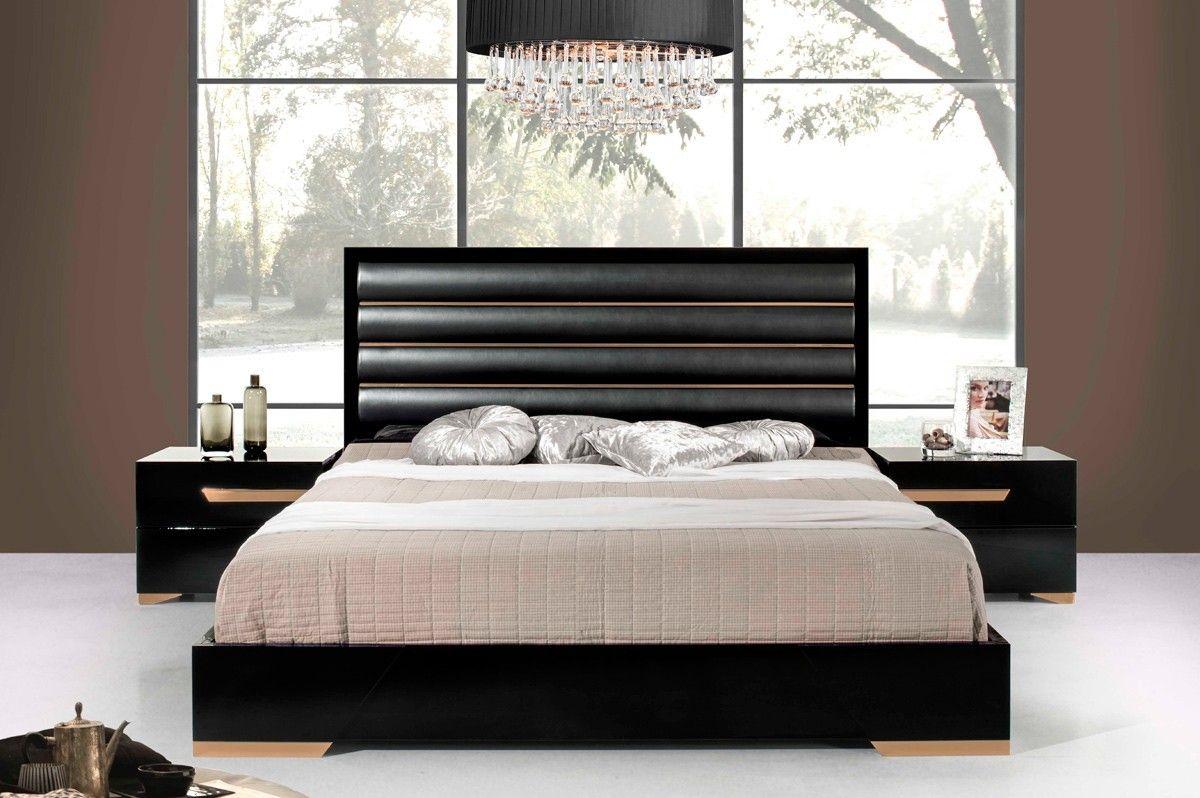 Nova Domus Italian Modern Black Rosegold Leatherette King Bed