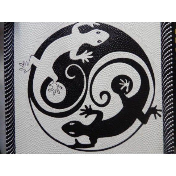 Lukisan Teknik Dot Motif Abstrak Cicak Yin Yang Panjang 70 Cm