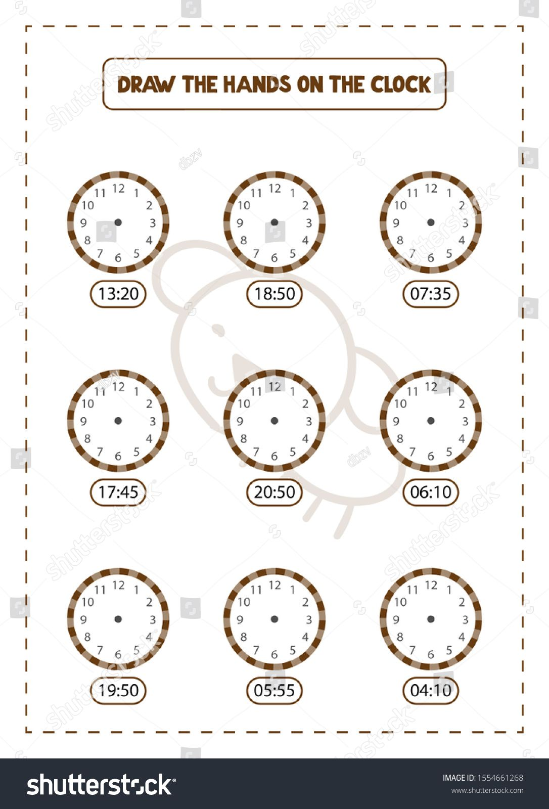 Draw The Hands On The Clock Game Educational Exercises