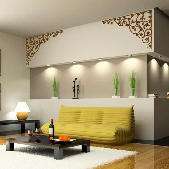 sticker d 39 angle fa on fer forg stickers arabesques parement mural fer forg et decoration. Black Bedroom Furniture Sets. Home Design Ideas