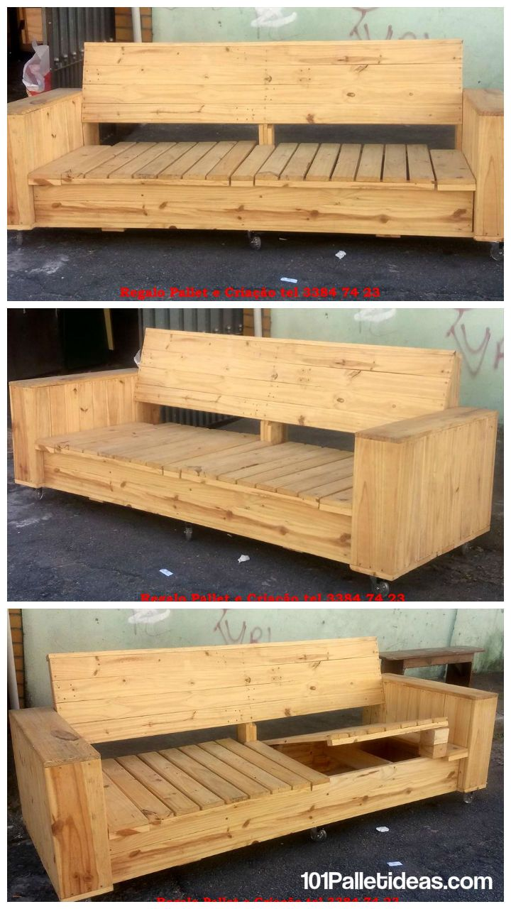 Build a wooden pallet sofa on wheels 101 pallet ideas for Pallet furniture designs