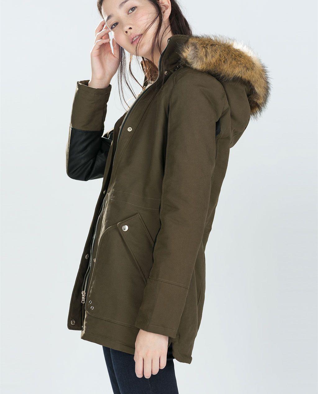 Combined Parka With Fur Hood Trf Outerwear Woman Zara United States Autumn Winter Fashion Fashion Outerwear Women [ 1269 x 1024 Pixel ]