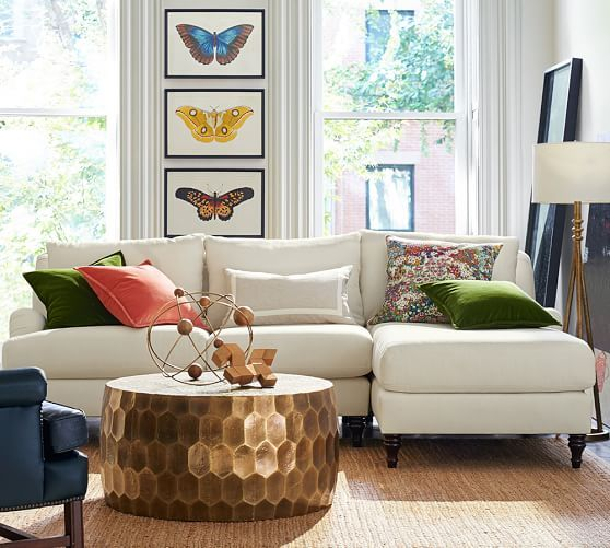 Carlisle upholstered sofa with chaise sectional small spaces sala comedor dormitorio - Sofa dormitorio ...