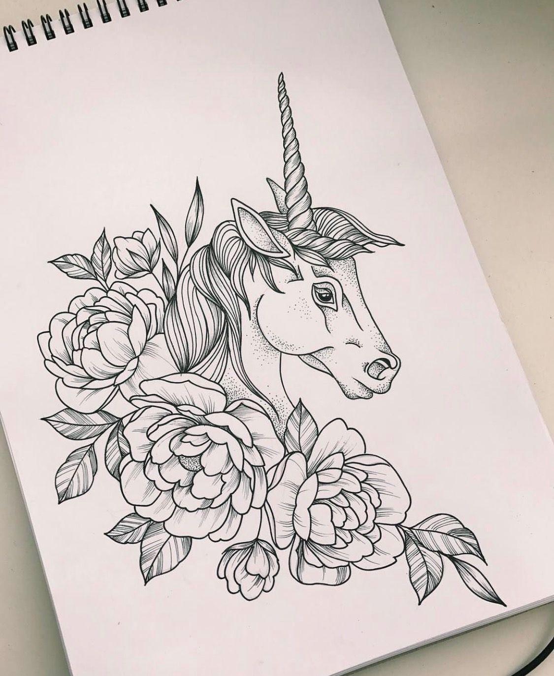 Unicorn Black and White Illustration, Printable Unicorn Digital Download, Unicorn Print, Unicorn Art, Unicorn Gift and Decor, Girls Room
