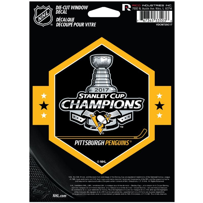 Rico 2017 Stanley Cup Champions Pittsburgh Penguins Die-Cut Decal, Team
