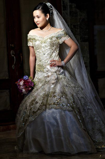 Eric delos Santos of Philippines | Bridal Gown with golden details ...