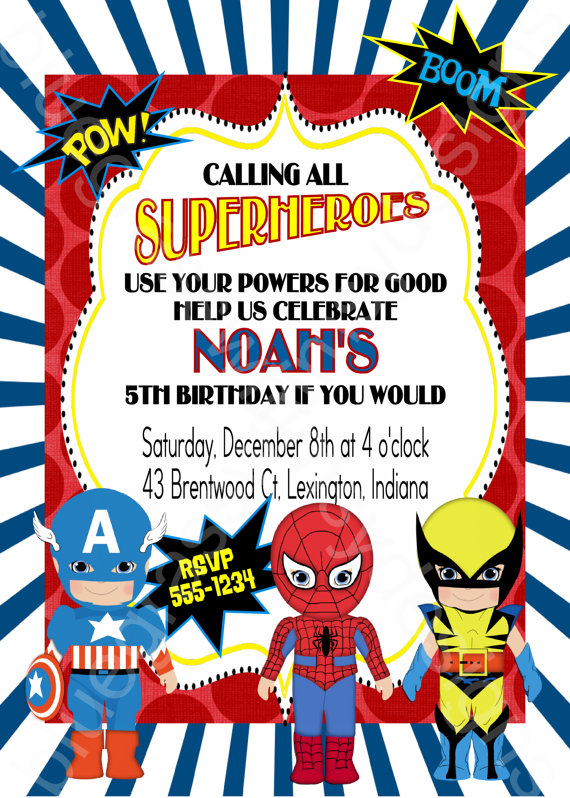 Calling All Superheroes Birthday Party Invitation boy or coed – Superheroes Party Invitations