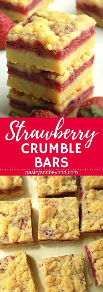 Strawberry Crumble Bars-You can make these delicious strawberry crumble bars with only 5 ingredients! I use the same dough for the crust and the topping! Recipe on Crumble Bars-You can make these delicious strawberry crumble bars with only 5 ingredients! I use the same dough for the crust and the topping! Recipe on