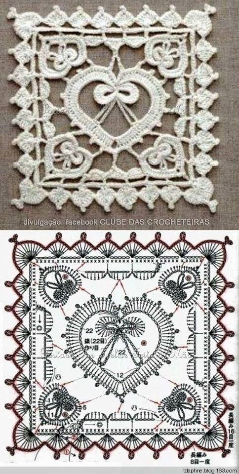 Crochet heart motif square ❤️LCH-MTS❤️ with diagrams.