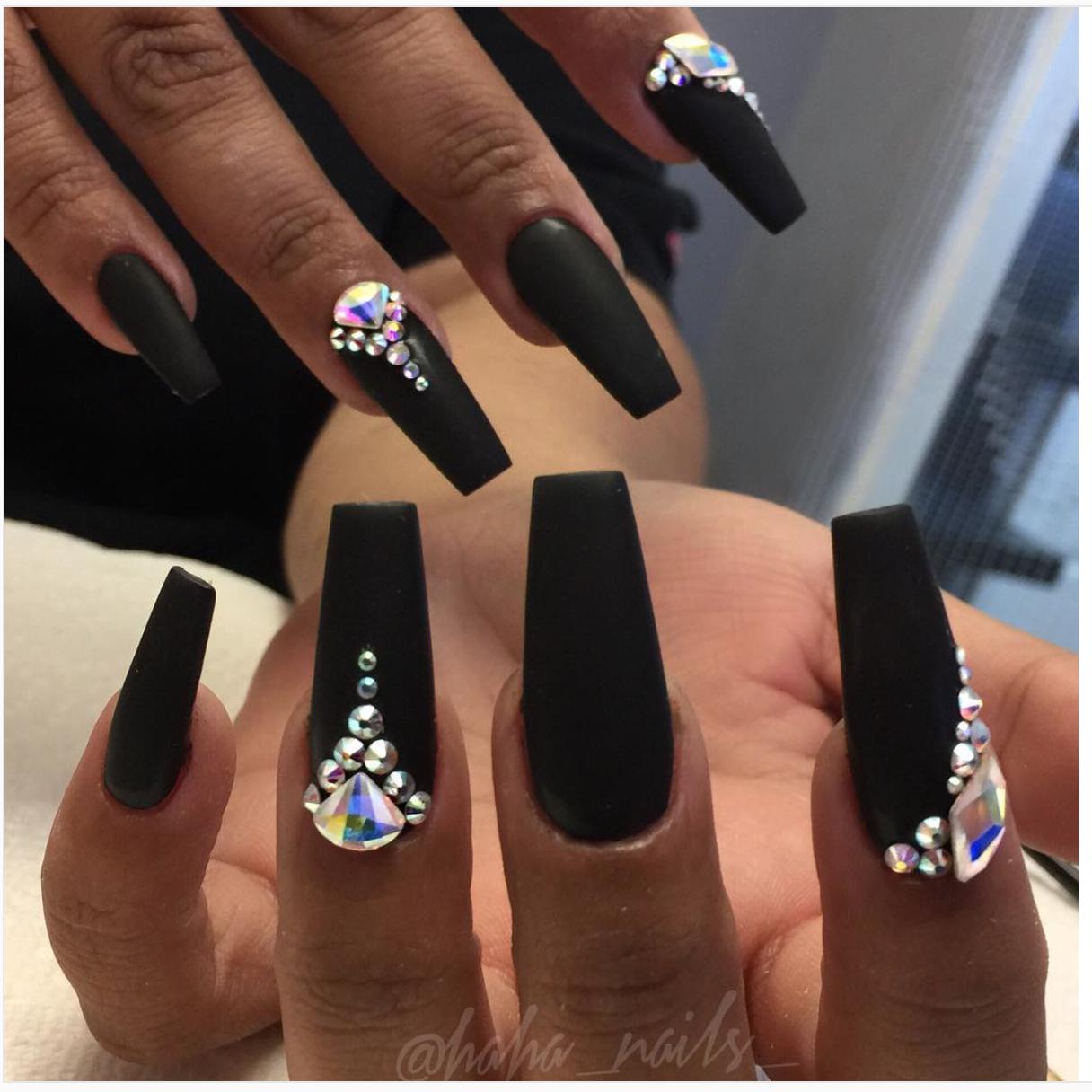 Elegante Black Acrylic Nails Diamond Nails Gem Nails