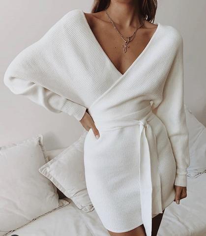Karma V-Neck Dress | Sweater Dress W/ Belt #sweaterdressoutfit