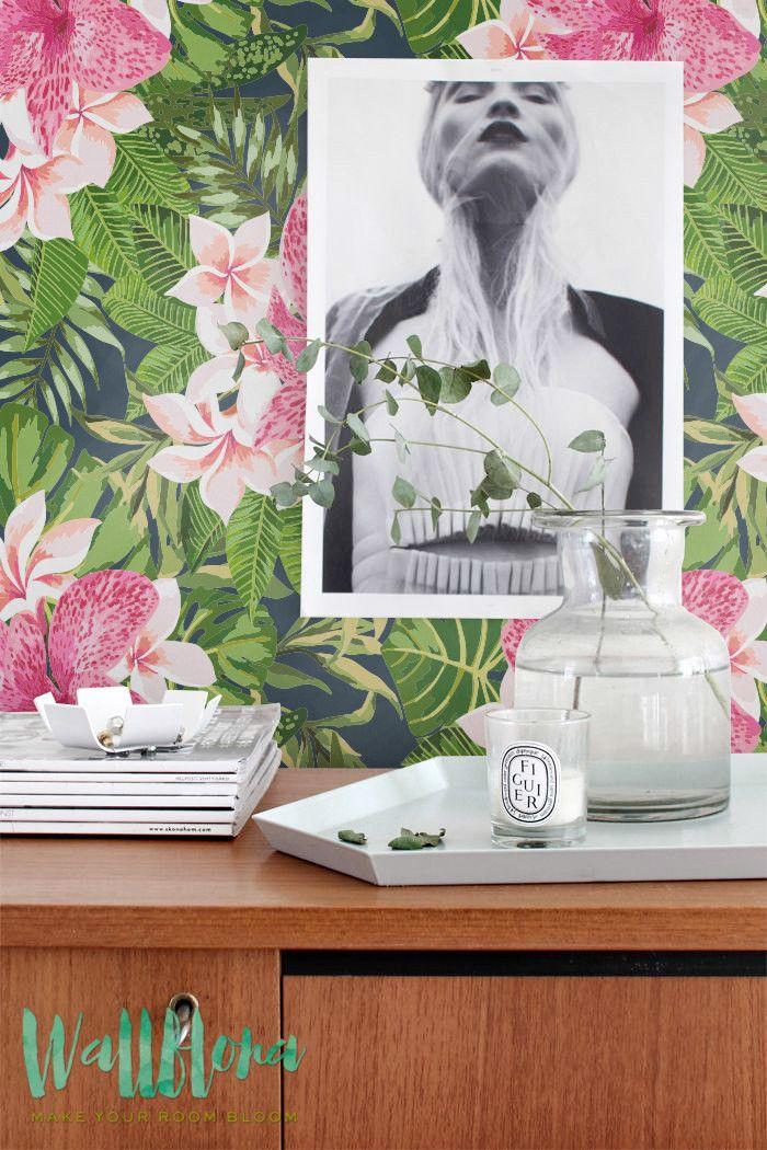 Blooming Jungle Wallpaper   Removable Wallpaper - Tropical Wallpaper - Exotic…