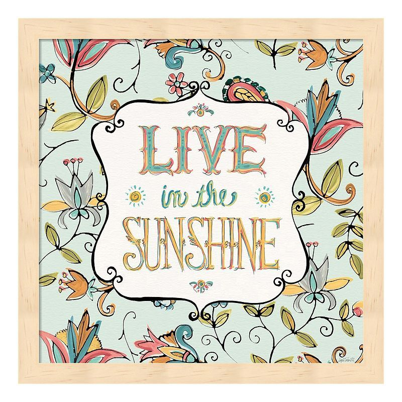 "Metaverse Art ""Live In The Sunshine"" Wood Framed Wall Art, Multicolor"