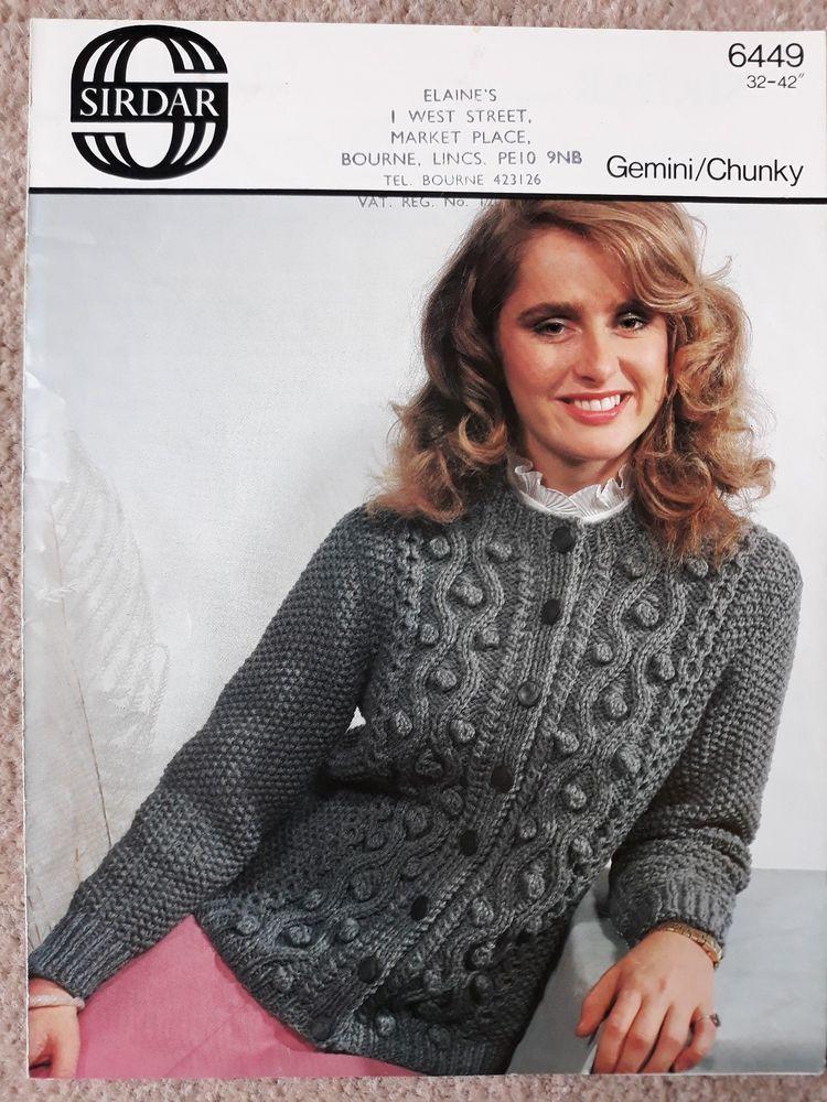58f3c88b4 Vintage / retro knitting pattern Sirdar 6449 ladies chunky cable ...