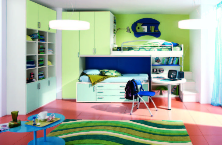 Boys Bedroom Theme Ideas for Your Kids: Excellent Boys Bedroom Theme Ideas With Colorful Theme Furniture Interior Design Room Decoration Picture Inspiration For Boys With Soft Green Painting Walls And Loft Beds Feats Simple Desk Views ~ enokae.com Bedroom Inspiration