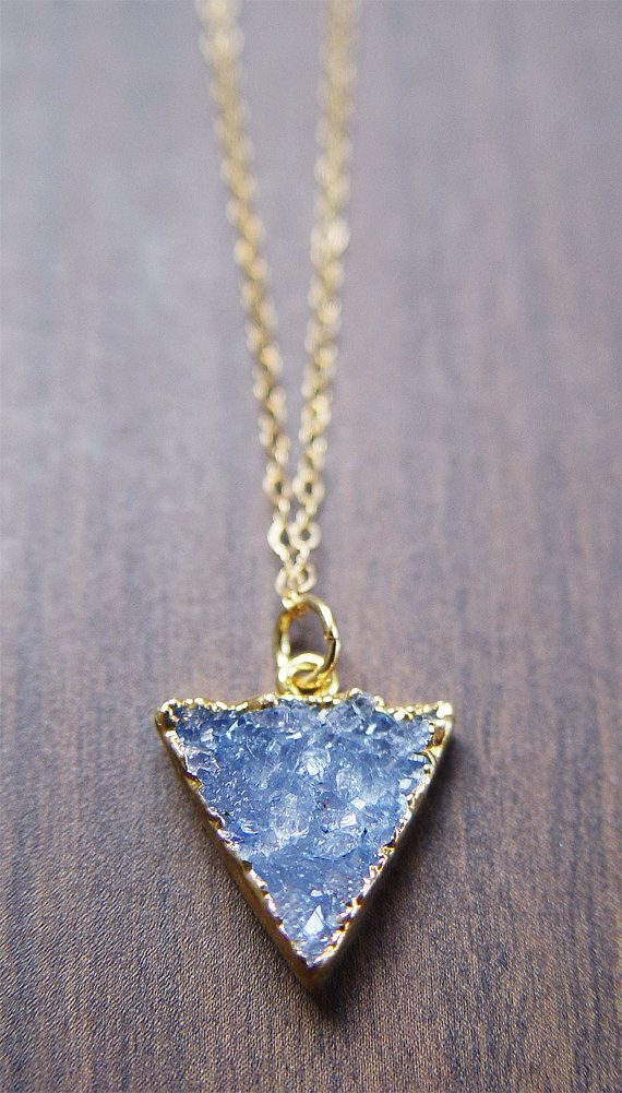 Blue Druzy Triangle Necklace  14k Gold by friedasophie on Etsy