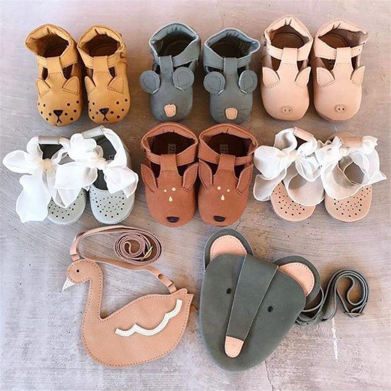 EnkeliBB Animal Leather Baby Walker Shoes Genuine Leather