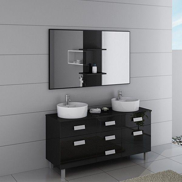 DIS911N Meuble salle de bain noir - Meuble Vasque A Poser Salle De Bain