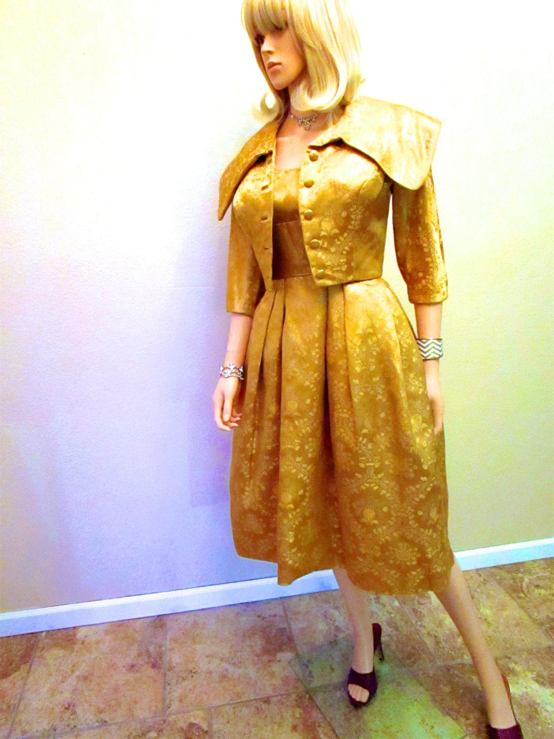 50s Gold Lame Dress & Jacket. Old Hollywood Dress. Vintage Couture ...