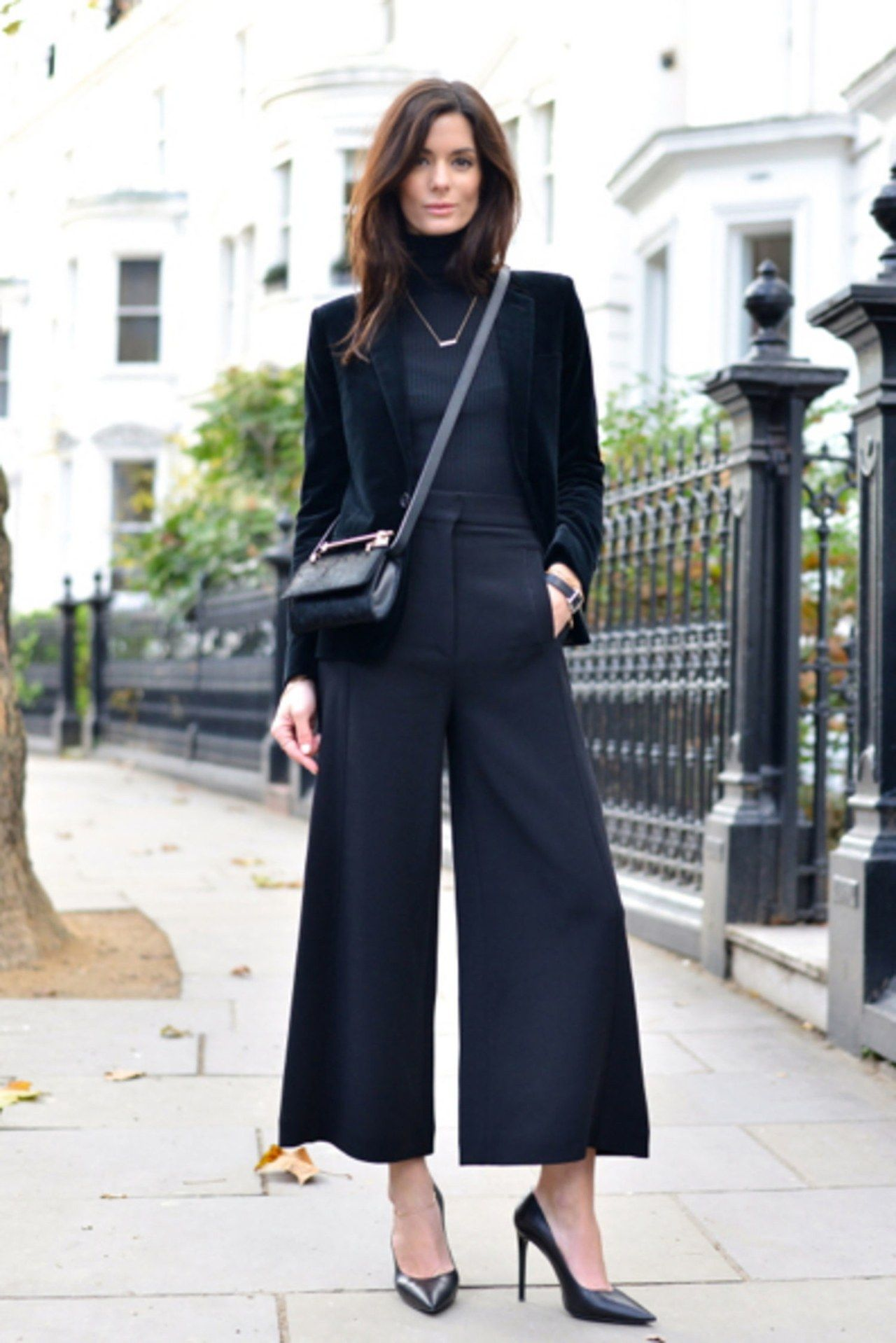 b0a6728feb office holiday party outfit idea black pants blazer the northern light