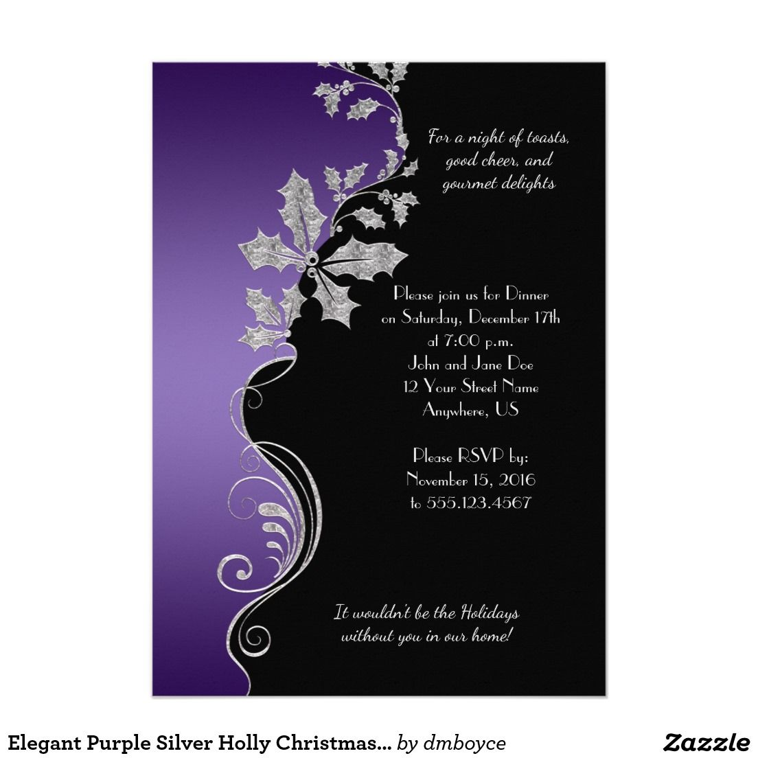 Elegant purple silver holly christmas party card christmas new elegant purple silver holly christmas party card kristyandbryce Choice Image