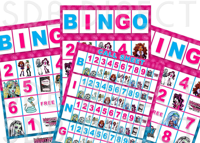 Monster High Bingo Game, Monster High Activities, Monster High Party ...