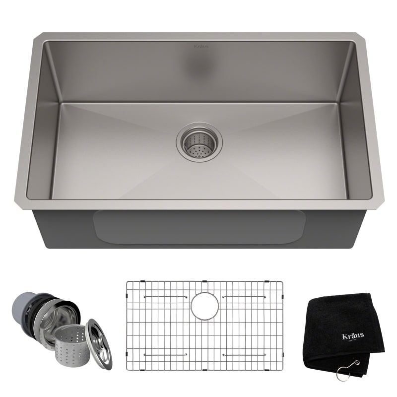 Kraus Khu100 30 Stainless Steel 30 Single Basin 16 Gauge Stainless Steel Kitchen Sink For Undermount Installations Basin Rack And Basket Strainer Included Farmhouse Sink Kitchen Kitchen Sink Remodel Single Bowl Kitchen Sink