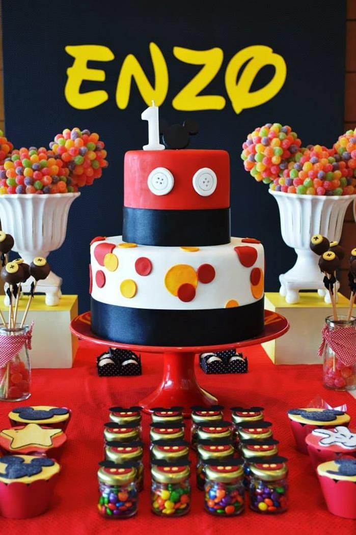 Amazing cake at a Mickey Mouse 1st Birthday Party via Kara's Party ...