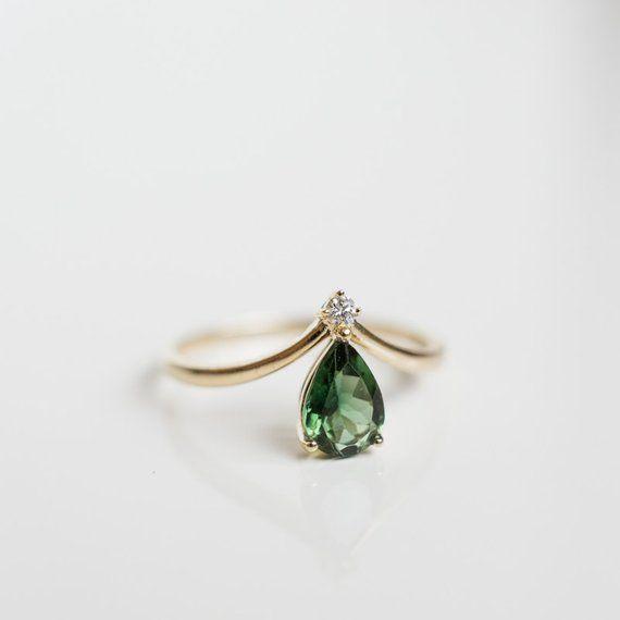 14K 18K gold grün Turmalin Diamant Chevron Verlobungsring V | Etsy