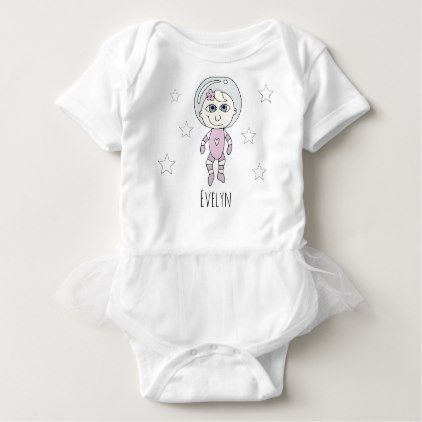Feminist baby girl astronaut stars doodle and name baby bodysuit negle